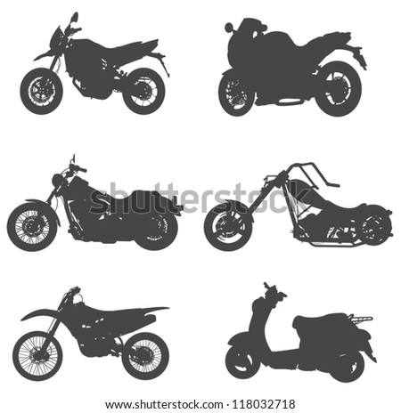 Sets of silhouette motorcycles, create by vector. - stock vector