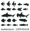 Sets of silhouette ocean sea fishes and shark and marine animal icon set 1, create by vector - stock vector