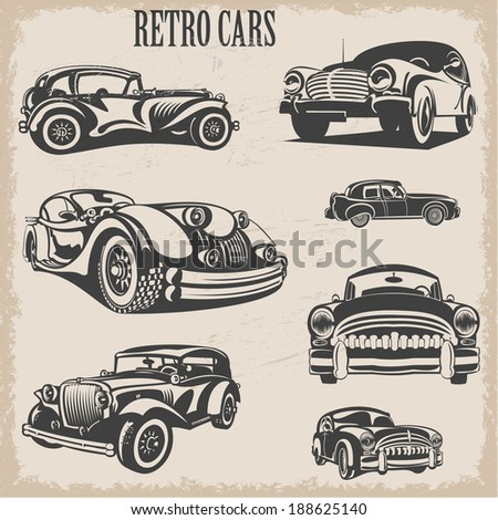 Sets of silhouette retro cars - stock vector