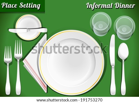Setting Place Formal Placemat. Place Setting Informal Place Mat. Formal Placement Plate Napkins. & Setting Place Formal Placemat Place Setting Stock Vector 191753270 ...