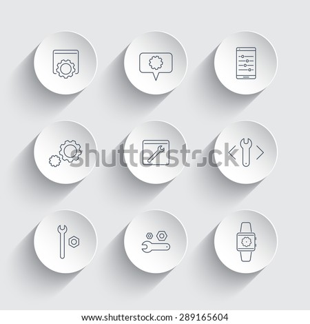 settings, configuration, preferences line icons in round 3d shapes, vector illustration, eps10, easy to edit - stock vector
