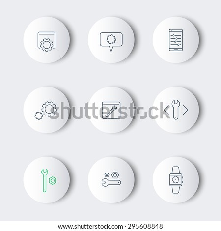 settings, configuration, preferences line round modern icons, vector illustration, eps10, easy to edit - stock vector