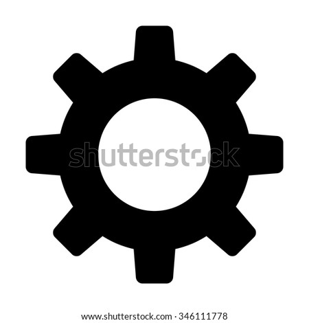 Settings gear / cog flat icon for apps and websites - stock vector