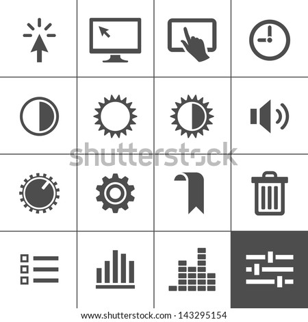 Settings icon set. Control icons. Vector illustration. Simplus series - stock vector