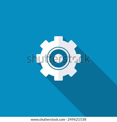 Settings Icon. Vector Cog Settings Icon Symbol. Long shadow - stock vector