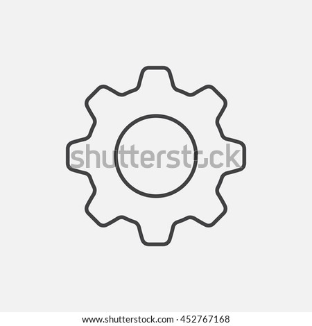 Settings. Line Icon Vector. Cog sign isolated on white background. Flat design style - stock vector