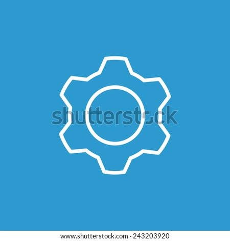 settings outline icon, isolated, white on the blue background. Exclusive Symbols  - stock vector