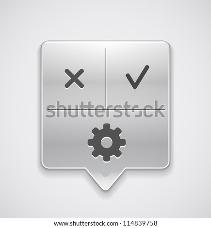 Settings pointer button with dialog buttons yes and no - stock vector