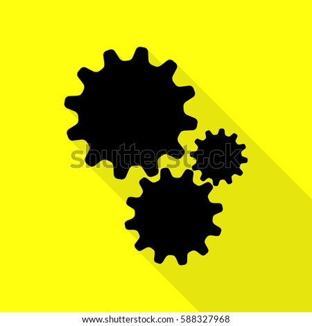 Settings sign illustration. Black icon with flat style shadow path on yellow background.