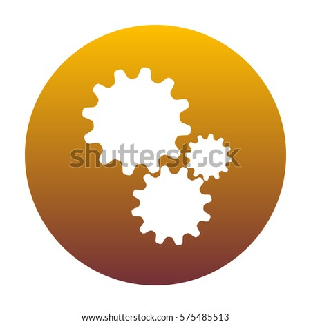 Settings sign illustration. White icon in circle with golden gradient as background. Isolated.
