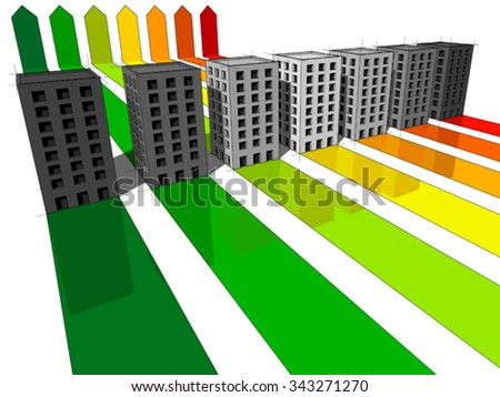 seven apartment houses or office buildings certified in seven energetic classes - stock vector