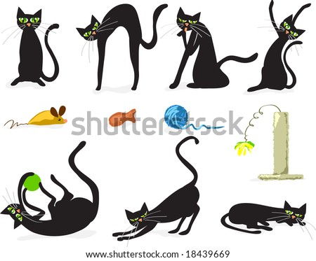 Seven black cats in various poses with cat toy accessories. Vector illustration fully scalable.
