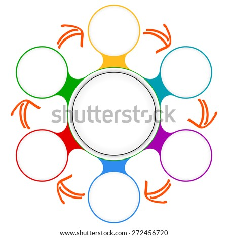 Seven colored circular frames for your text - stock vector