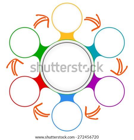 Seven colored circular frames for your text - stock vector