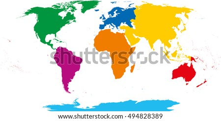 seven continents map asia yellow africa orange north america green south america