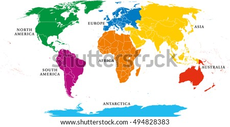 7 continents stock images royalty free images vectors seven continents map with national borders asia africa north and south america gumiabroncs Images