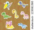 seven cute color dinosaur stickers ,vector - stock vector