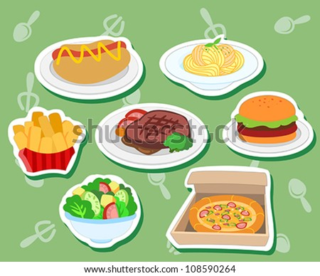 seven cute food stickers with hotdog, hamburger; steak, pizza, salad, fries,and pasta. - stock vector