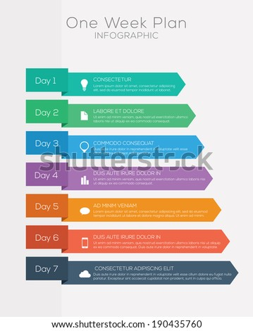 Seven day plan infographics set elements. - stock vector