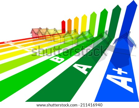 seven+extra one houses certified in eight energetic classes - stock vector