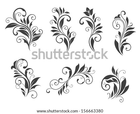 Seven floral elements isolated on white background for retro design. Jpeg version also available in gallery - stock vector
