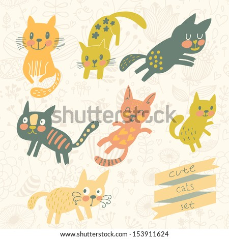 Seven funny kittens in cartoon style. Cats smiling and playing in vector set - stock vector