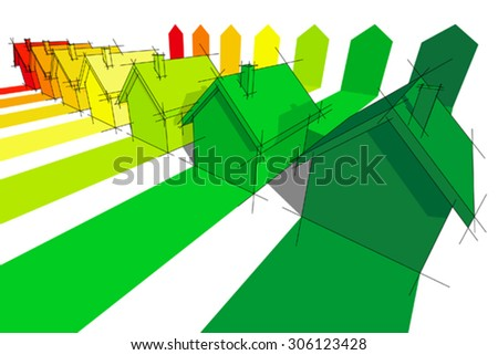 seven houses certified in seven energy classes in energy rating diagram - stock vector