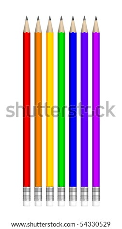 Seven multicolored vector pencils isolated on white - stock vector