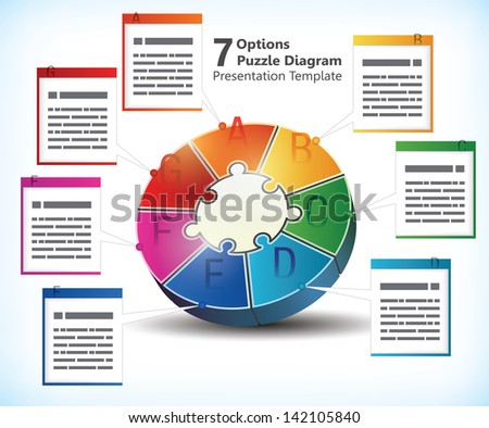 Seven sided presentation template with text box for brochures, banners, ads and business statistics of infographics - stock vector
