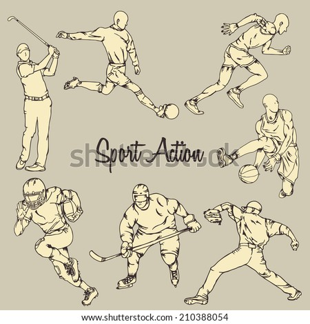 Seven sport action with vintage drawing style - stock vector