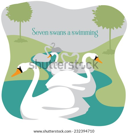 Seven swans a swimming Twelve Days of Christmas EPS 10 vector illustration - stock vector