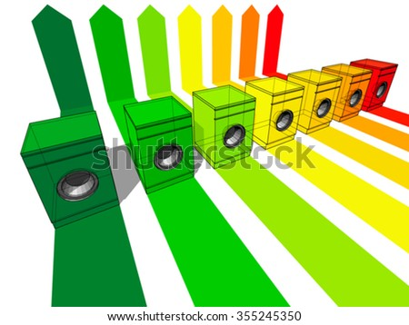 seven washing machines certified in seven energetic classes - stock vector