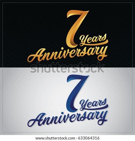 Seven Years Anniversary Celebration Logotype 7th Stock Vector ...