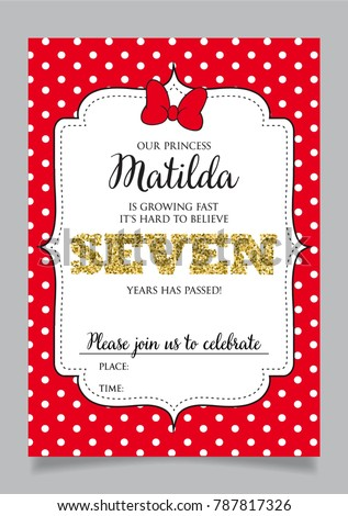 Seventh birthday invitation girl seven years stock vector 787817326 seventh birthday invitation for girl seven years old party printable vector template with red stopboris Gallery