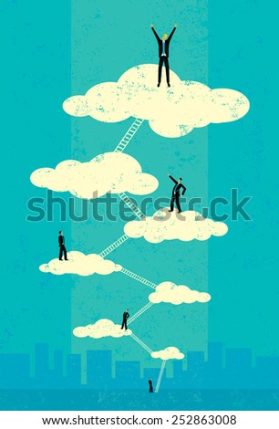 Seventh Heaven Successful businessmen climbing the corporate ladder to seventh heaven. The people and ladders are on a separate labeled layer from the background. - stock vector