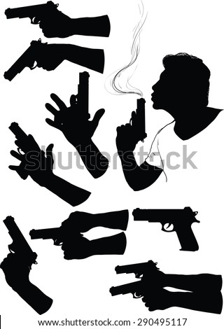 Several black silhouette of hands with gun in various positions