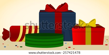 Several  bright present boxes with colorful ribbons and bows - stock vector