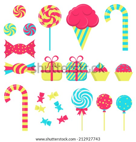 Several candies in white background. Lollipop, ice cream, stick candy, bubble gum, gift wrapping