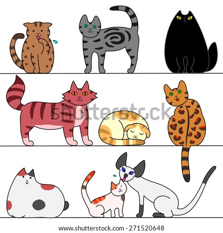 several cats - stock vector