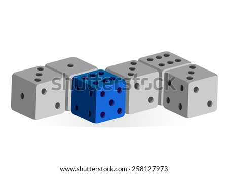 Several dice in a row - one blue, others gray (vector)