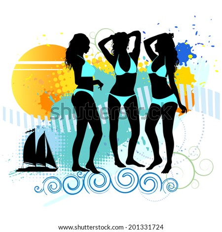 Several girls are dancing on the beach. Vector illustration - stock vector