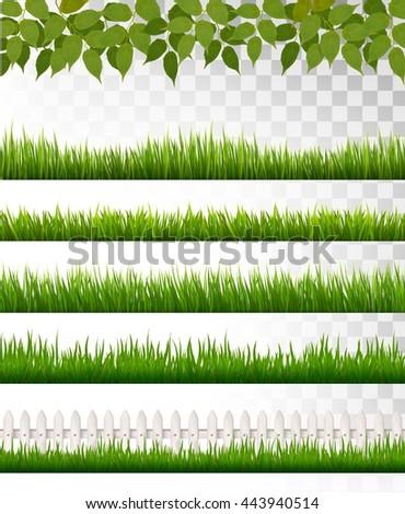 Several grass borders. Vector. - stock vector