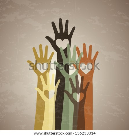 several hands with a heart in the center over vintage background - stock vector