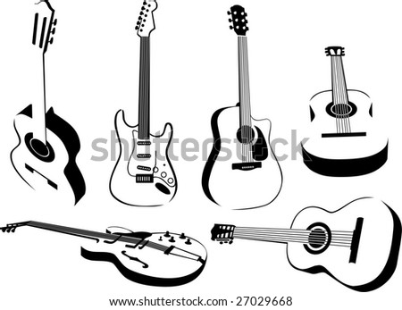 several isolated images of guitars