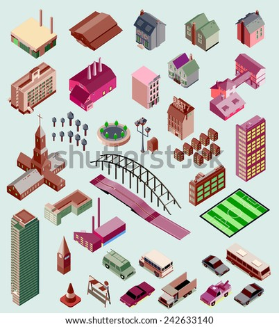 several isometric elements. building, road, bridge, vehicle, plant - stock vector