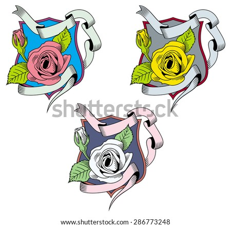 Several multi colored signs with rose on the shield - stock vector