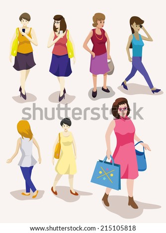 several people isometric vector set.woman activity - stock vector