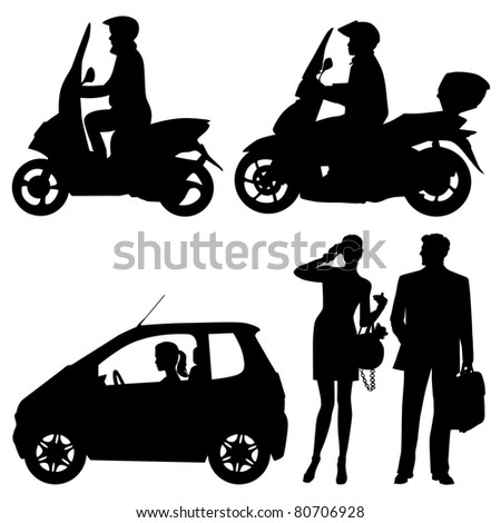 several people on a street - vector silhouettes - stock vector