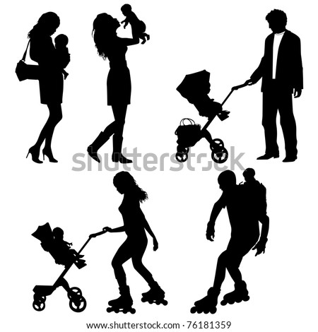 several people with children - vector silhouettes - stock vector