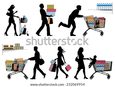 Several people. You can put each number of products in shopping trolley. - stock vector